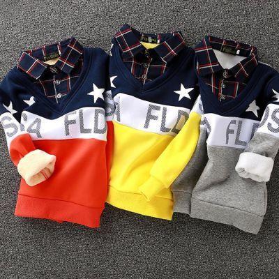 男童春秋冬假两件纯棉条纹长袖T恤翻领衬衫儿童大童加绒厚打底衫