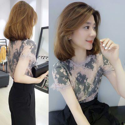 女恤短袖露背装女娃娃衫女学生韩版夏上衣女韩版雪纺防晒中长款胖