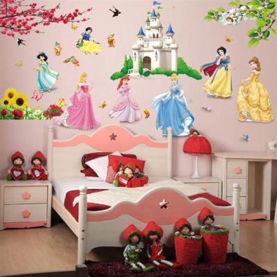 贴墙纸卧室儿童贴画门贴少女心装饰风景画墙纸网红背景布荧光贴管