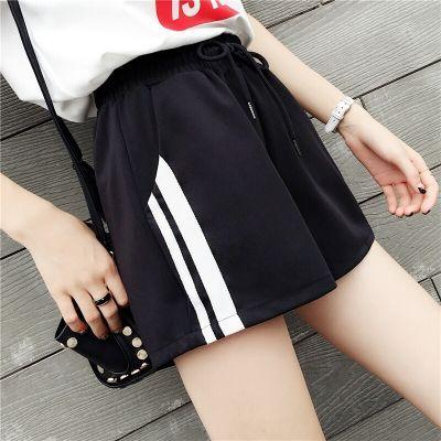 中学生套装女夏韩版裙子裤短裤女版学生喇叭裤女分宽松夏黑色裤子