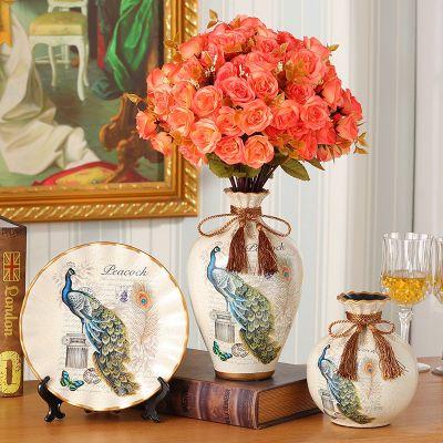 美式欧式创意家居装饰品客厅摆件欧式陶瓷花瓶三件套插花器架玄关
