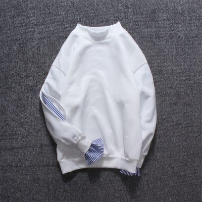2018港风套头卫衣男秋季条纹拼接长袖假两件破?#33905;?#38386;青少年衣服潮