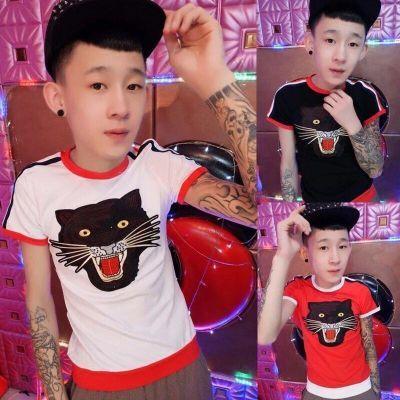 快手红人同款短袖紧身T恤社会精神小伙半袖夏网红男女青年修身潮