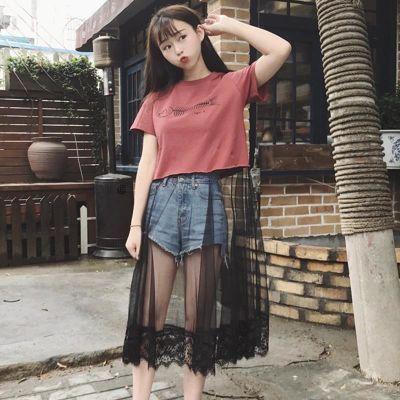 印花连衣裙女夏装新款韩版百搭小心机网纱蕾丝拼接短袖T恤裙学生