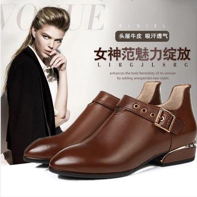 欧美秋冬粗跟深口单鞋新款英伦女鞋尖头拉链低跟鞋擦色百搭真皮鞋