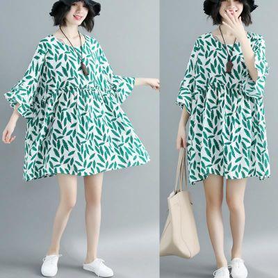 显瘦女装大码a字娃娃衫碎花短袖中长款棉麻连衣裙遮肚子藏肉减龄