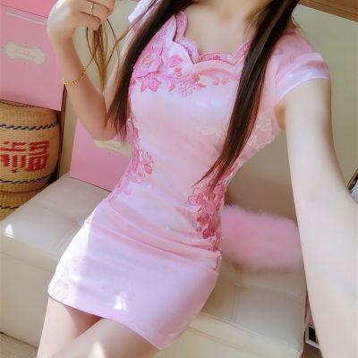 连衣裙开叉女修身裙子夏勿忘花连衣裙胖裙连大码遮肚子个性时尚夏