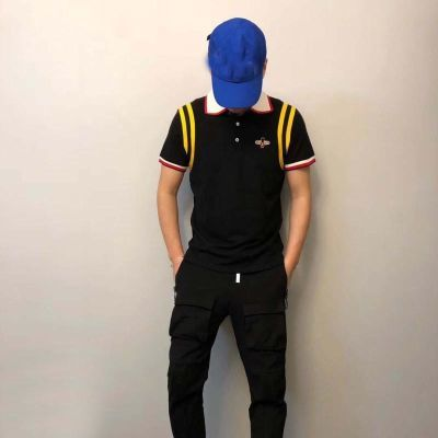 夏新款刺绣小蜜蜂polo衫男短袖翻领潮牌修身青年港风保罗上衣T恤