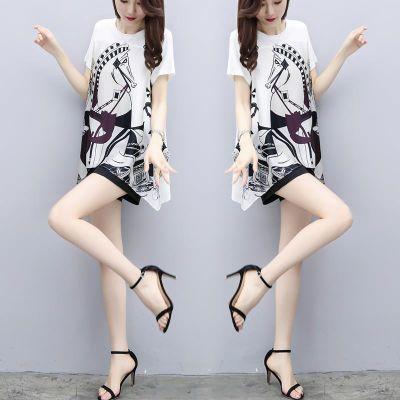休闲套装女夏韩版时尚女装雪纺衫短袖女体恤宽松修身连衣裙网红同
