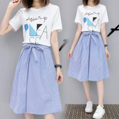 表演服装女学生女生套装夏季韩版宽松连衣裙夏日系裙子母子装黑色