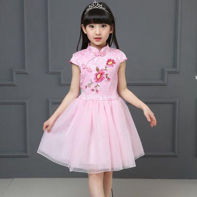 连衣裙雪纺小孩衣服女夏天袖连网纱裙无假件裙学生婴儿夏装娃娃领