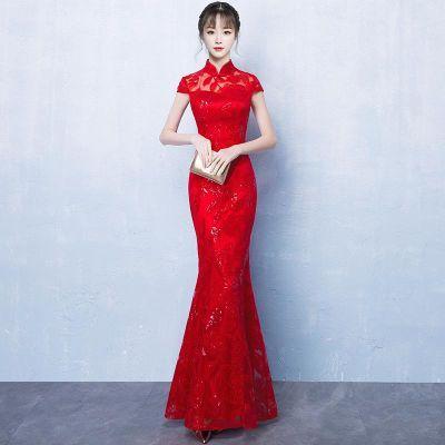 2018新款鱼尾敬酒服新娘春季红色长款旗袍修身中式结婚礼服女夏季