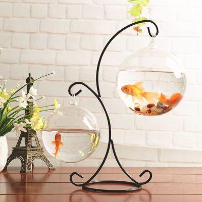创意造景悬挂小鱼缸绿萝植物水培玻璃花瓶客厅微景观装饰铁艺摆件