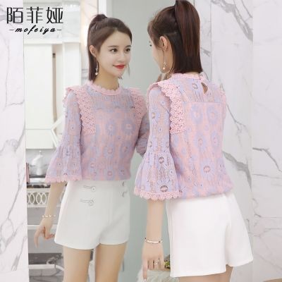 高冷范大版短袖女桑上衣外套女学生韩版表松短款女夏装娃娃衫原宿
