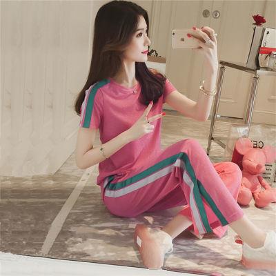 女学生短袖韩版宽松品牌女装斤大码夏裙子女上衣夏原宿风套装生韩