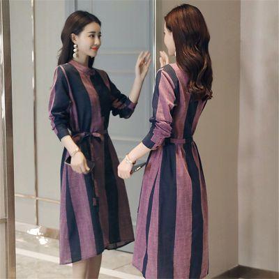 [杭州正品]棉麻连衣裙中长款条纹女秋装新款长袖收腰显瘦时尚中年