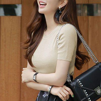 针织上衣女娃娃衫女学生韩版夏大领口恤女宽松冰丝女长袖连衣裙女