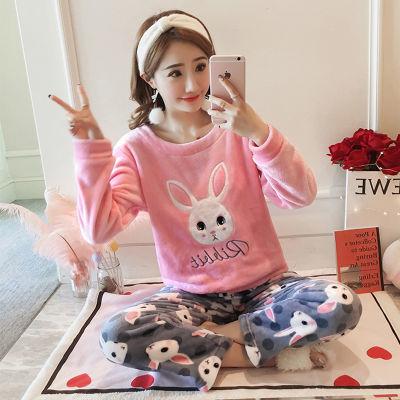 韩版甜美可爱大码珊瑚绒睡衣女秋冬加厚长袖法兰绒家居服春秋套装