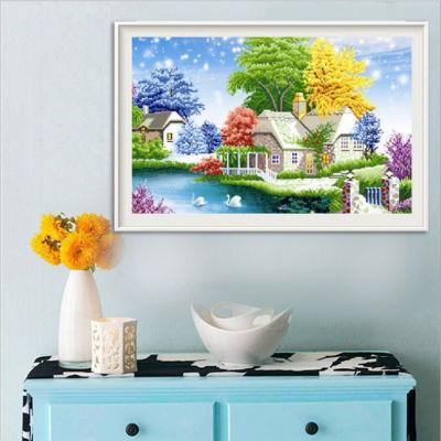 乡村风景5d钻石画卡通儿童粘钻画满钻新款客厅卧室贴钻十字绣小幅