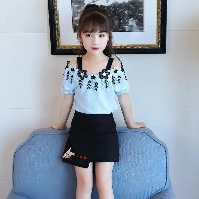 女童夏装短袖短裙裙子套装韩版棉中大儿童潮两件套童装2018新款