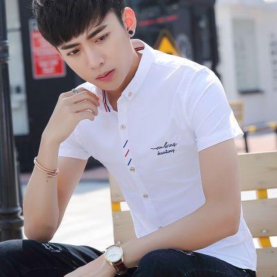 军绿色短袖男我妈不让我跟你玩短袖宽松上衣男短袖衬衫男韩版修身