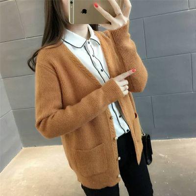 2018早秋新款女韩版宽松学生针织衫外套长袖显瘦时尚小开衫毛衣女