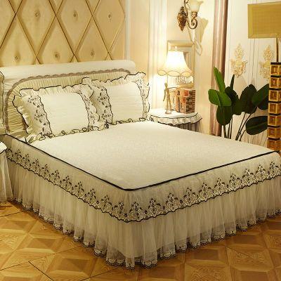 水洗棉蕾丝床裙韩式床罩纯色席梦思床防滑保护套1.5米1.8米 2.0米