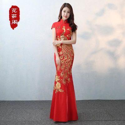 敬酒服新娘2018新款春款鱼尾旗袍长款修身中式复古结婚礼服