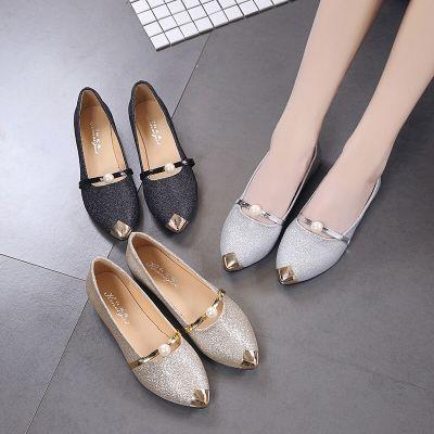【英伦班纳】平底单鞋韩版休闲鞋粗跟鞋亮片珍珠女生女鞋