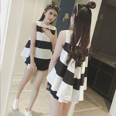 夏季新款韩范黑白拼接条纹清新无袖不规则下摆宽松显瘦娃娃衫女