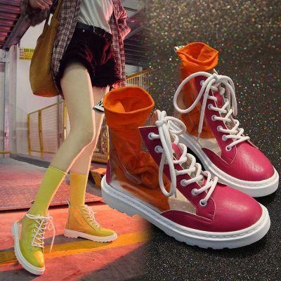 透明靴子女夏2018新款欧美马丁靴短靴网红同款平底凉靴chic水晶靴