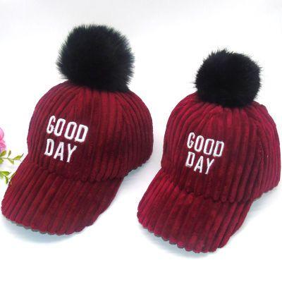 韩版女帽春秋棒球帽亲子帽毛球儿童帽子冬季鸭舌帽户外帽子女百搭