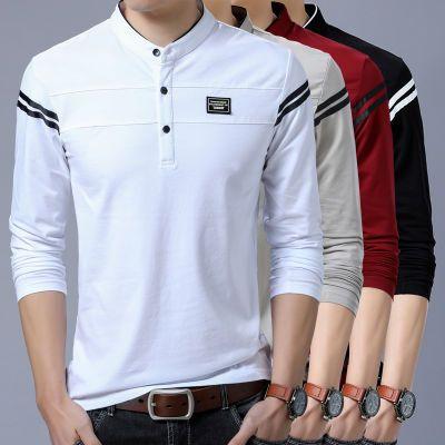 【好质量】长袖t恤男秋季新款男装短袖体恤中青年爸爸装宽松汗衫