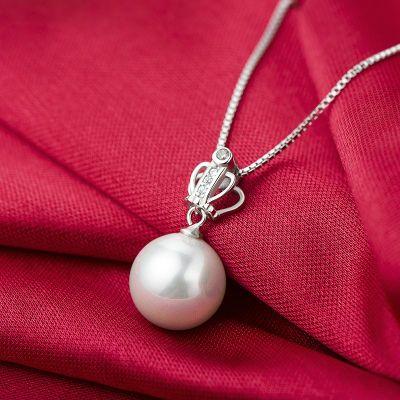 六隆珠宝S925纯银盒子项链 母贝皇冠珍珠吊坠简约水波链女礼物