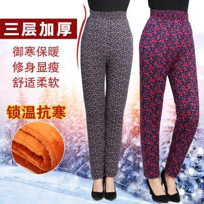 中老年驼绒棉裤男女高腰宽松加绒加厚老人奶奶三层保暖裤冬季大码