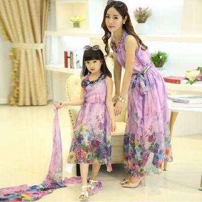 妈妈装夏装套装时尚新款旗袍女童睡裙家庭装中老年装女大衣夏亲子
