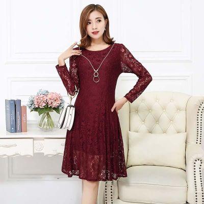 妈妈装秋季长袖蕾丝连衣裙中长款40岁中年女时尚显瘦气质镂空裙子