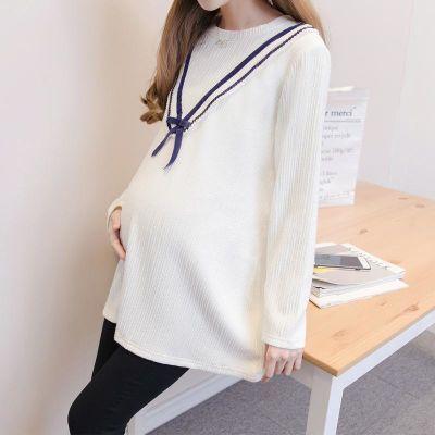 孕妇秋装上衣时尚款2018新款秋季白色衣服宽松怀孕期大码长袖t恤