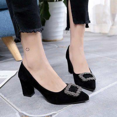 黑色水钻方扣粗跟单鞋2018女秋新款中跟低跟职业高跟鞋工作鞋百搭