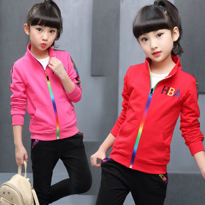 童套装2018新款女童棉套装韩版潮衣儿童两件套女孩中大童运动套装