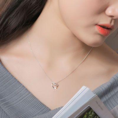 s925纯银爱心形项链女锁骨链日韩国简约学生水晶闪钻吊坠生日礼物