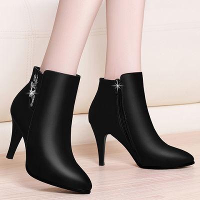 2018秋季新款女士皮鞋尖头短靴防水台细跟高跟鞋马丁靴短筒单靴女