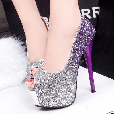 18新款百搭时尚韩版亮片渐变婚鞋超高跟防水台细跟高跟鞋单鞋女鞋