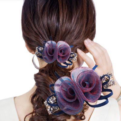 发夹绢纱丝带花朵顶夹韩版弹簧夹发饰一字夹发卡韩版淑女头饰饰品