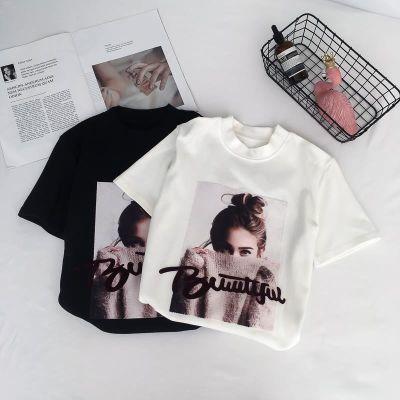 2018新款白色短袖t恤女夏韩版时尚百搭修身显瘦韩范黑色紧身上衣