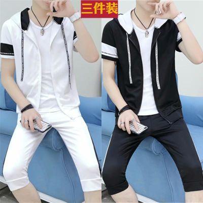 夏季套装男短袖T恤七分裤一套衣服休闲社会帅气网红夏天韩版卫衣
