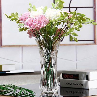 法兰晶欧式玻璃花瓶富贵竹鲜花干花水培简约现代透明客厅落地摆件