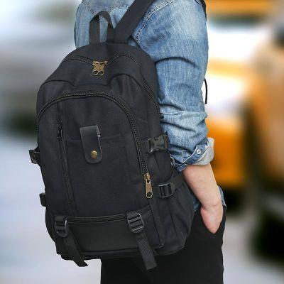 2018潮爆款大容量耐磨男士双肩包休闲旅行出门帆布背包学生书包