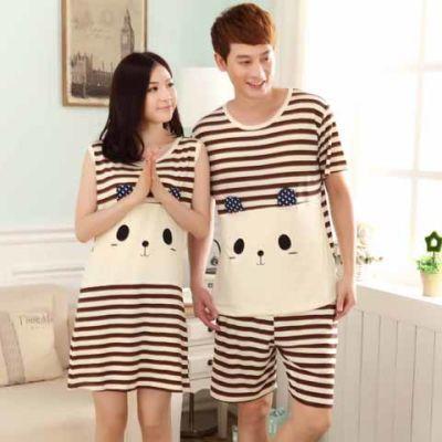 【进店领卷】夏季情侣宽松短袖家居服套装卡通条纹睡衣女套装睡裙