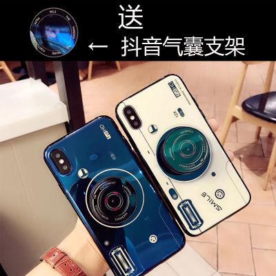 风创意照相机气囊支架手机壳华为p20网红华为mate10圆形支架玻璃